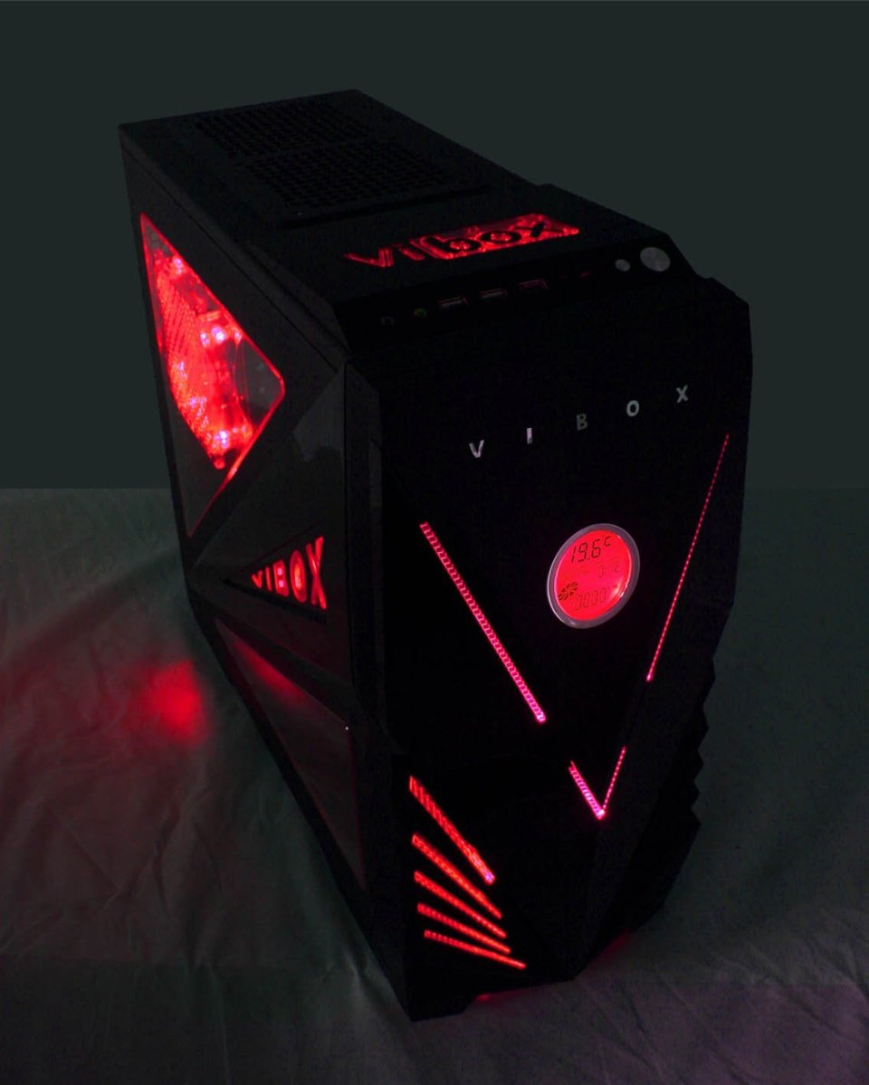Vibox Commando Red Midi Gaming Pc Case Tower With Easy Access Usb3 Ports Sd Memory Card Reader